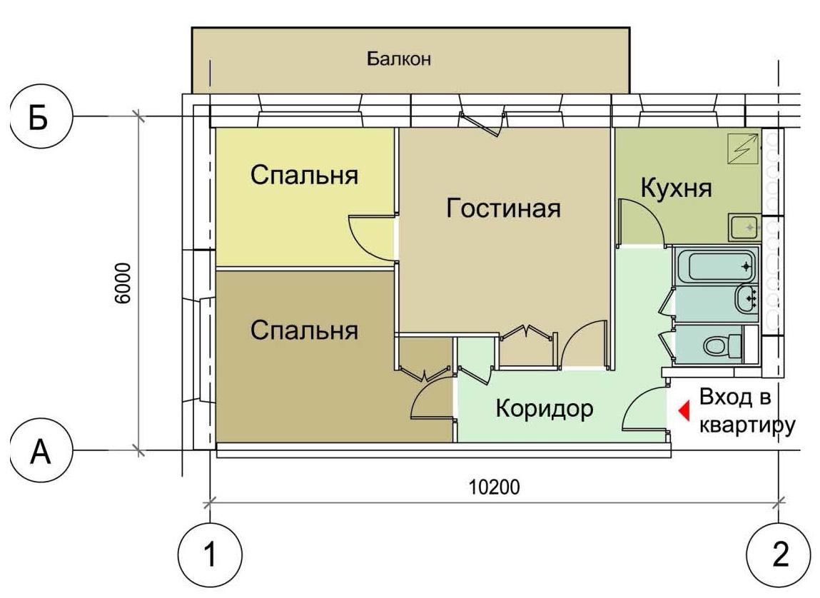 Перепланировка в доме серии 1-515/9м - 3-х комнатные квартир.