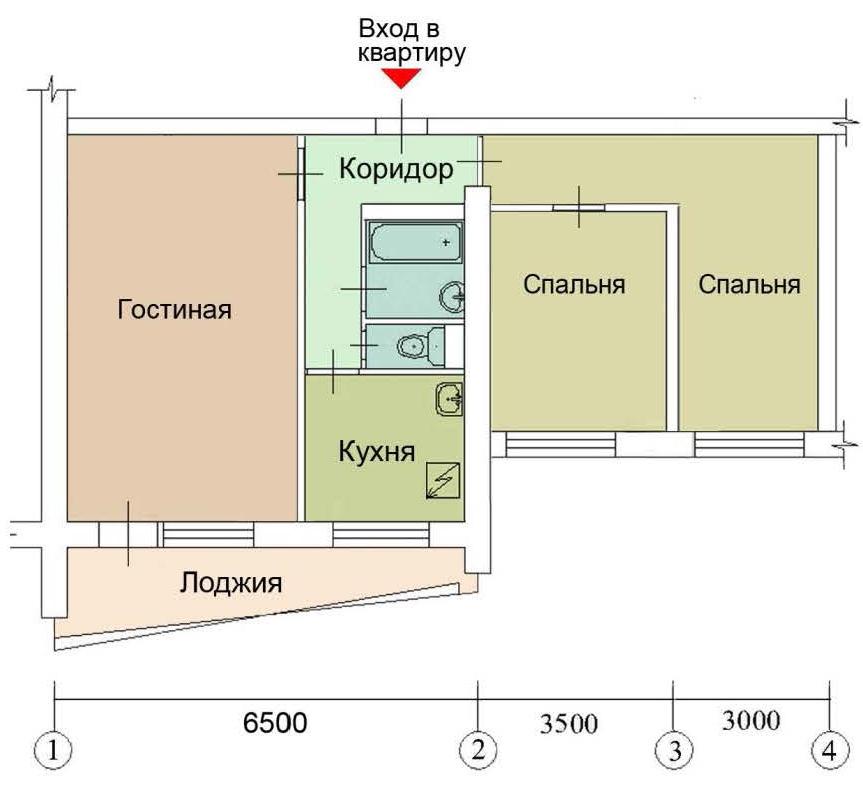 Снос стен в доме cерия ii-68-02/12к.