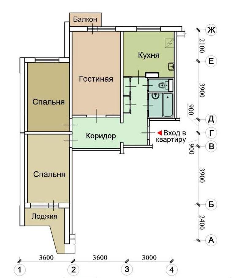 Серия дома п-3 - перепланировки квартир, планировки с размер.