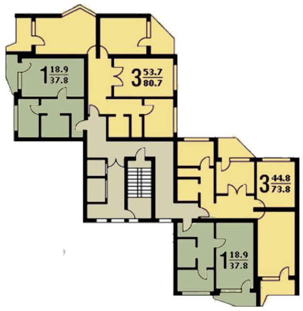 Схема размещения квартир П44Т.