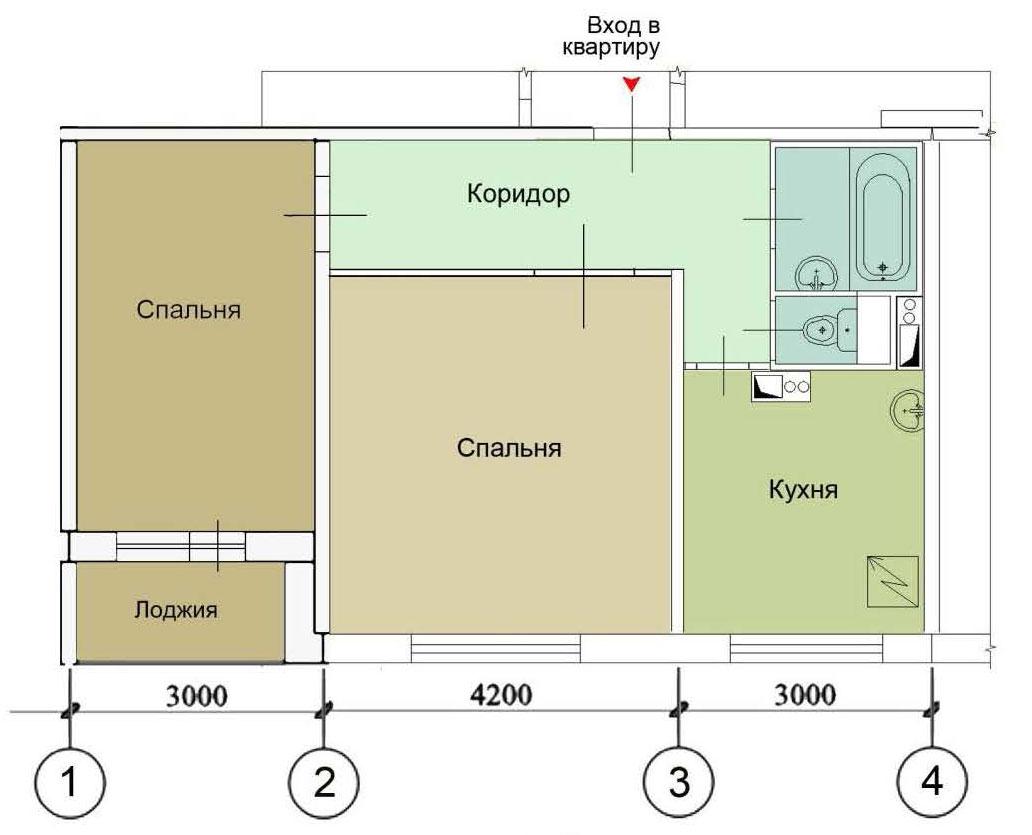 Схема планировки 2 комнатной квартиры фото 874