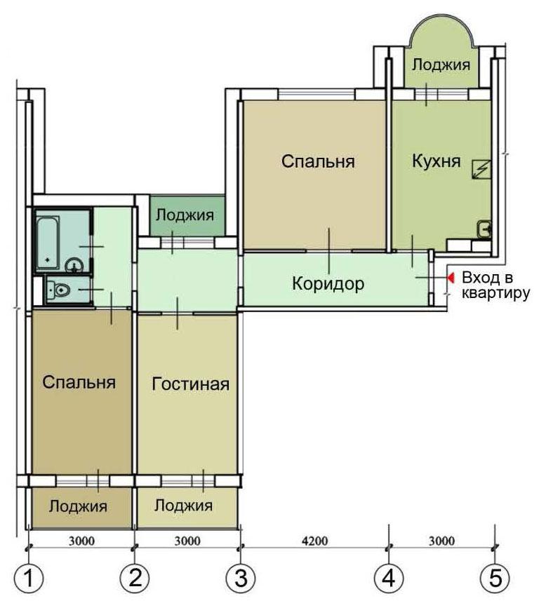 П 55 планировка с размерами балконов. - металлопластиковые о.