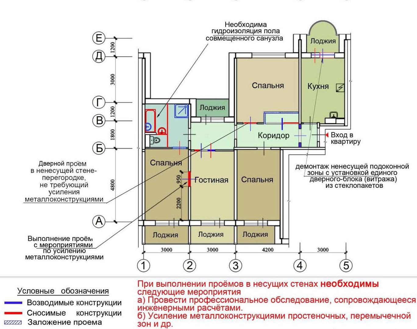 Серия дома п-55 - перепланировка квартир п-55, планировка с .