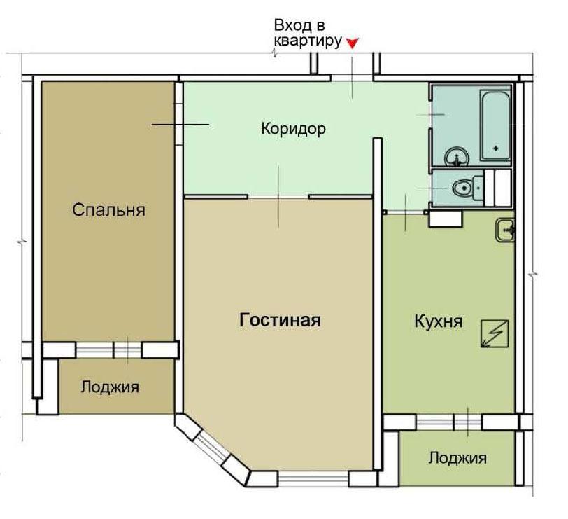 Серия дома п-55м - перепланировка квартир, планировка с разм.