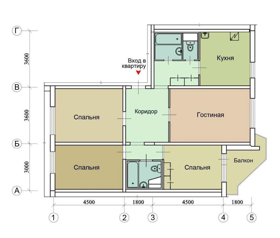 Серия дома пд-4 - перепланировка квартир, планировки с разме.