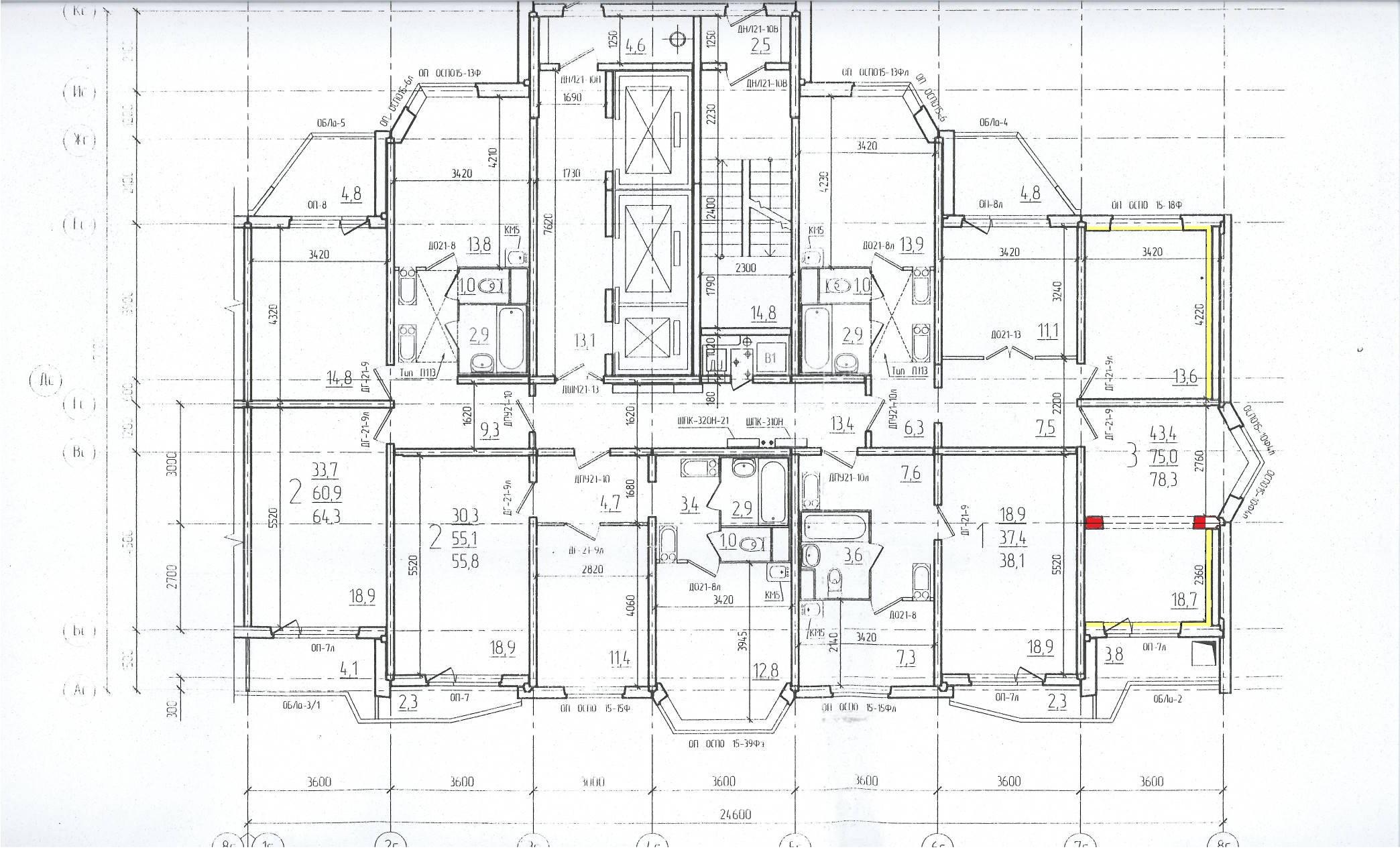 Схема расположения квартир в домах серии п44т.